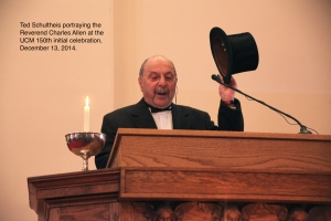 Ted Schultheis portraying Rev. Charles Allen doffs his hat at a UCM 150th Celebration gathering on 12/13/14